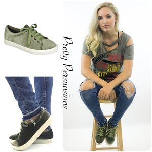 NWT Olive Green Velvet Lace Up Sneakers